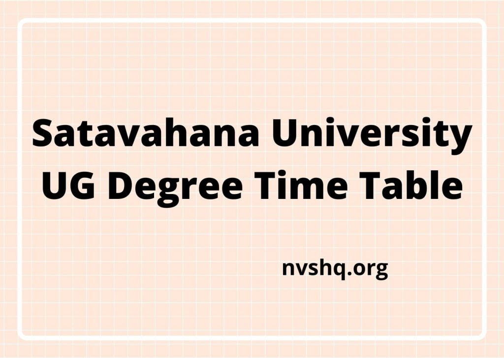Satavahana-University-UG-Degree-Time-Table