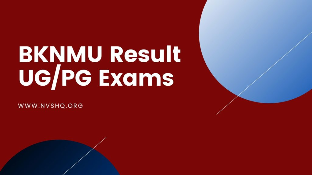 BKNMU Result UP PG Exams