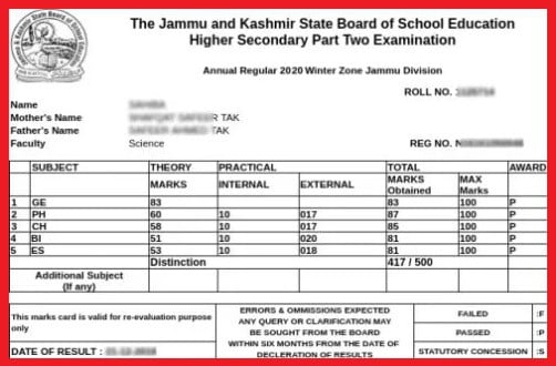 JKBOSE 10th Result marksheet sample