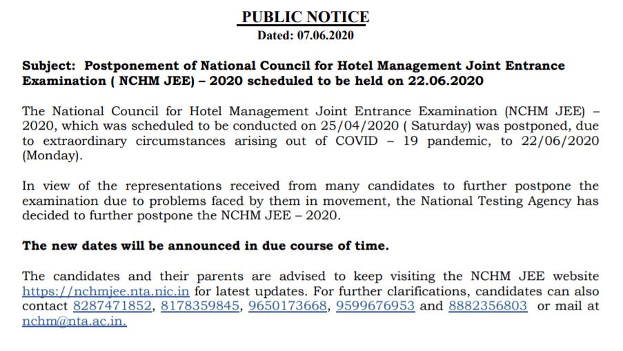 NCHM-JEE-2020-Exam-postponed
