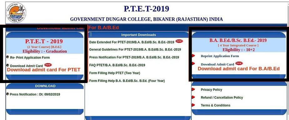 PTET-Admit-Card-Link-2020