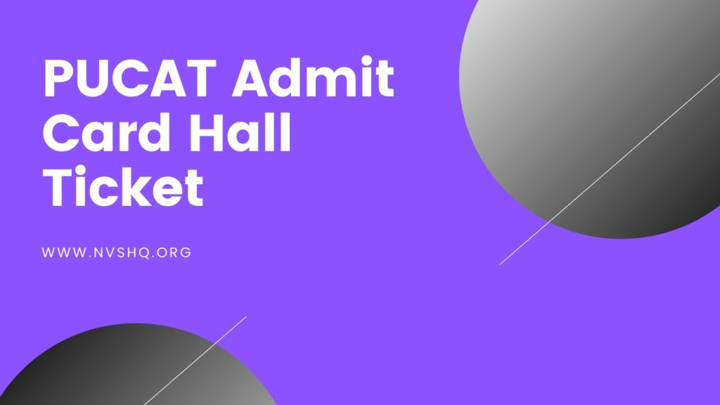 PUCAT Admit Card 2020 Hall Ticket