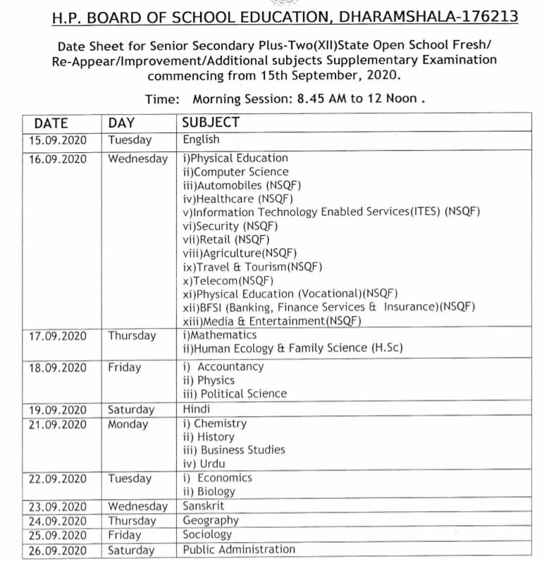 HPSOS-12th-Datesheet-2020