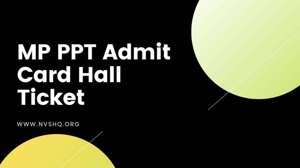 MP PPT Admit Card Hall Ticket