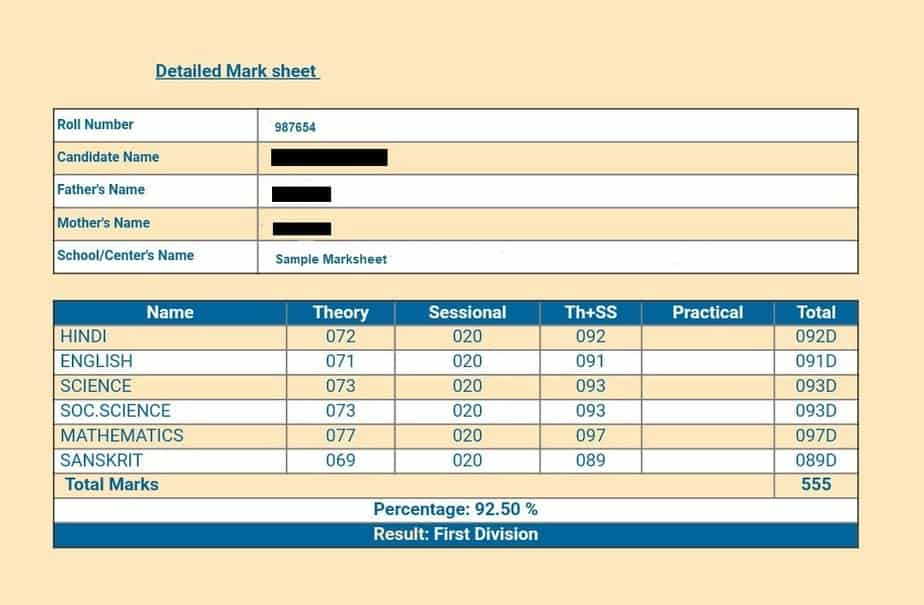 RBSE-10th-Topper-Marksheet-sample