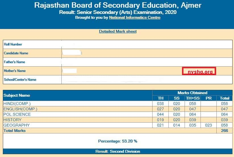 RBSE-12th-arts-result-2020-online-result-sheet