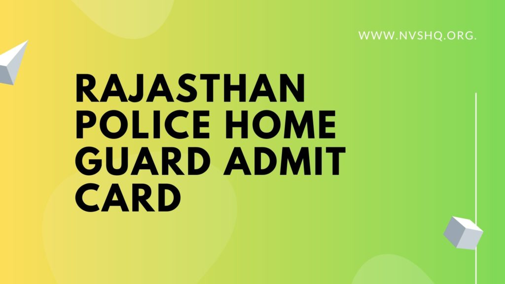 Rajasthan Police Home Guard Admit Card