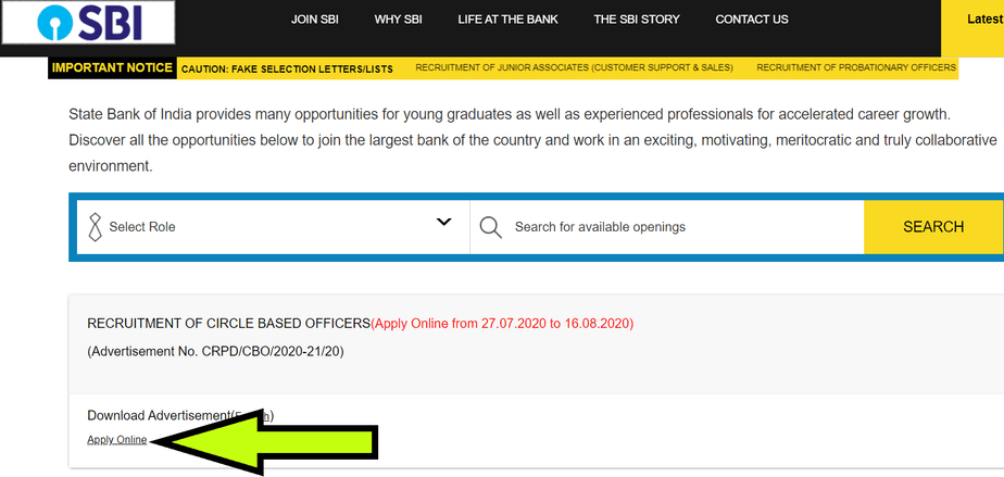 SBI-apply-link
