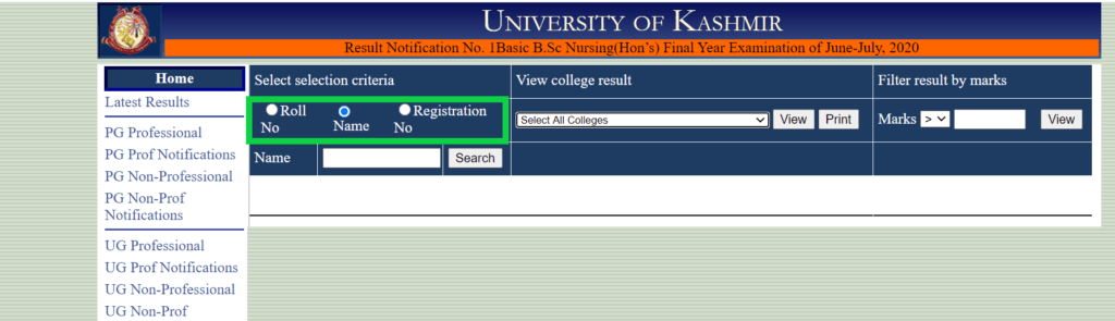 kashmir-university-result