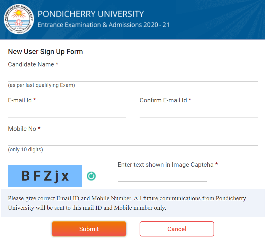 pondicherry-university-online-registration-page-2020