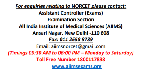 AIIMS-2020-NORCET-Contact-details