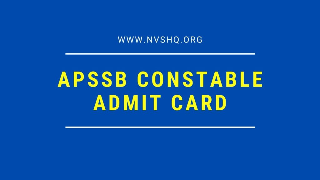 APSSB Constable Admit Card