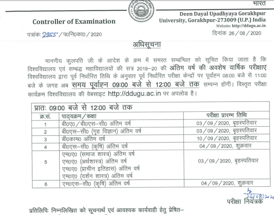 DDU Time Table 2020 BA B.Sc B.Com Final Year Schedule