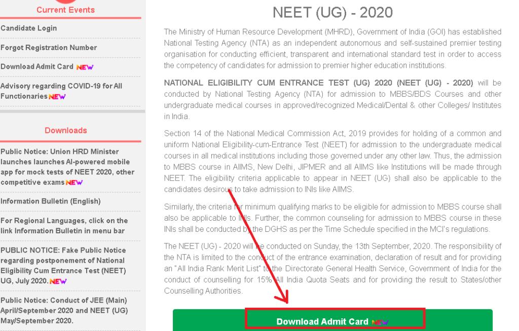 NEET-UG-Admit-card-2020-download