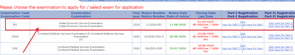 upsc-ies-2020-online-application