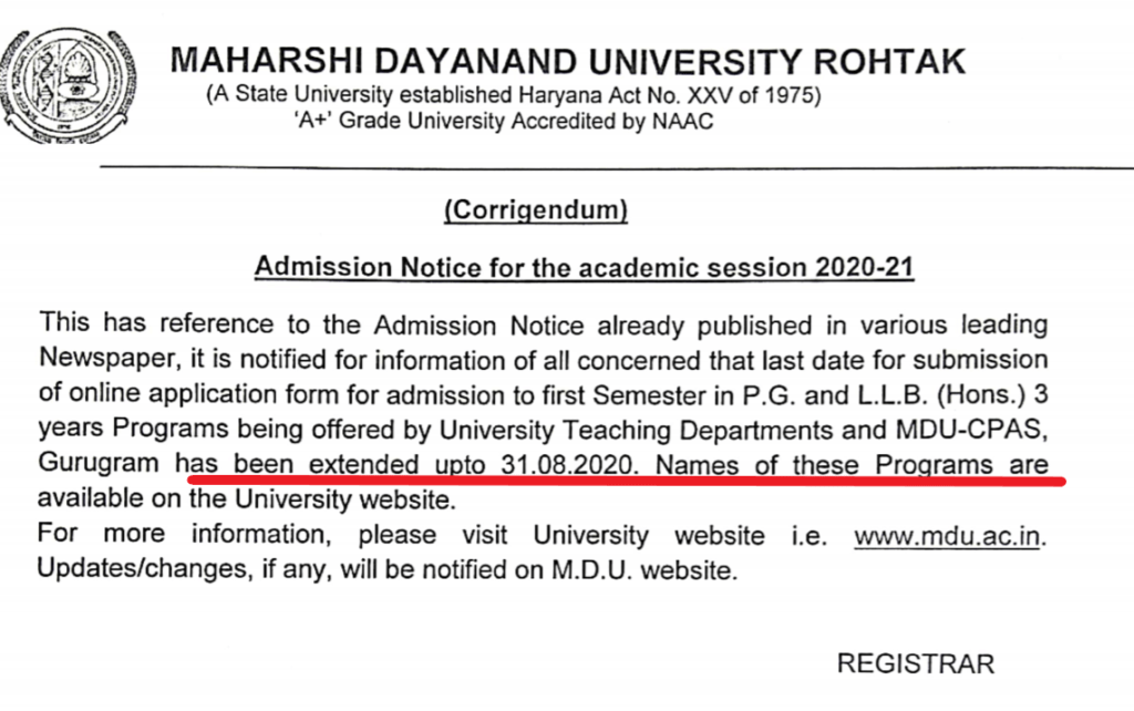 mdu-rohtak-online-application-notice