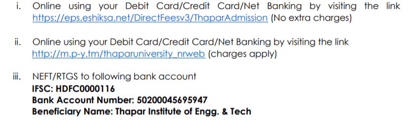 thapar-university-selection-list-admission-fee