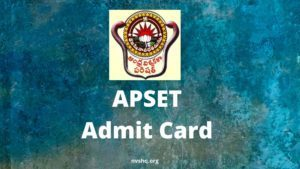 APSET Admit Card 2020 Hall Ticket Date