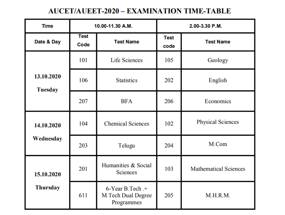 aucet-exam-time-table