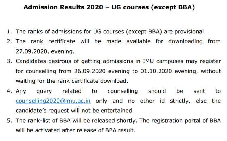 IMU-CET-2020-Result-notice