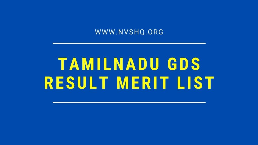Tamilnadu GDS Result Merit List