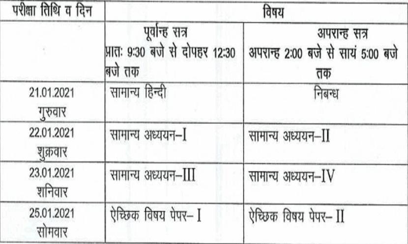 uppsc-pcs-exam-schedule-2020