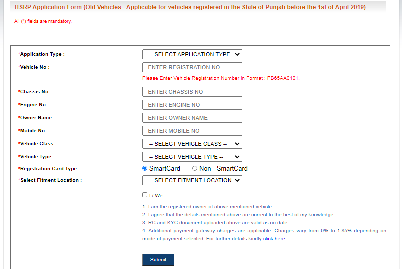 HSRP-Registration-Punjab