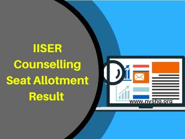 IISER 1st Round Seat Allotment Result
