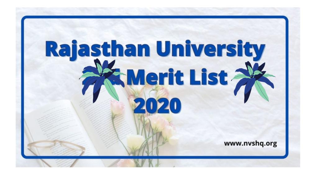 Rajasthan University Merit List 2020