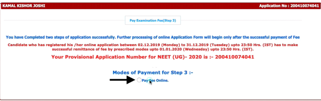 NEET-Application-2021-fees-payment