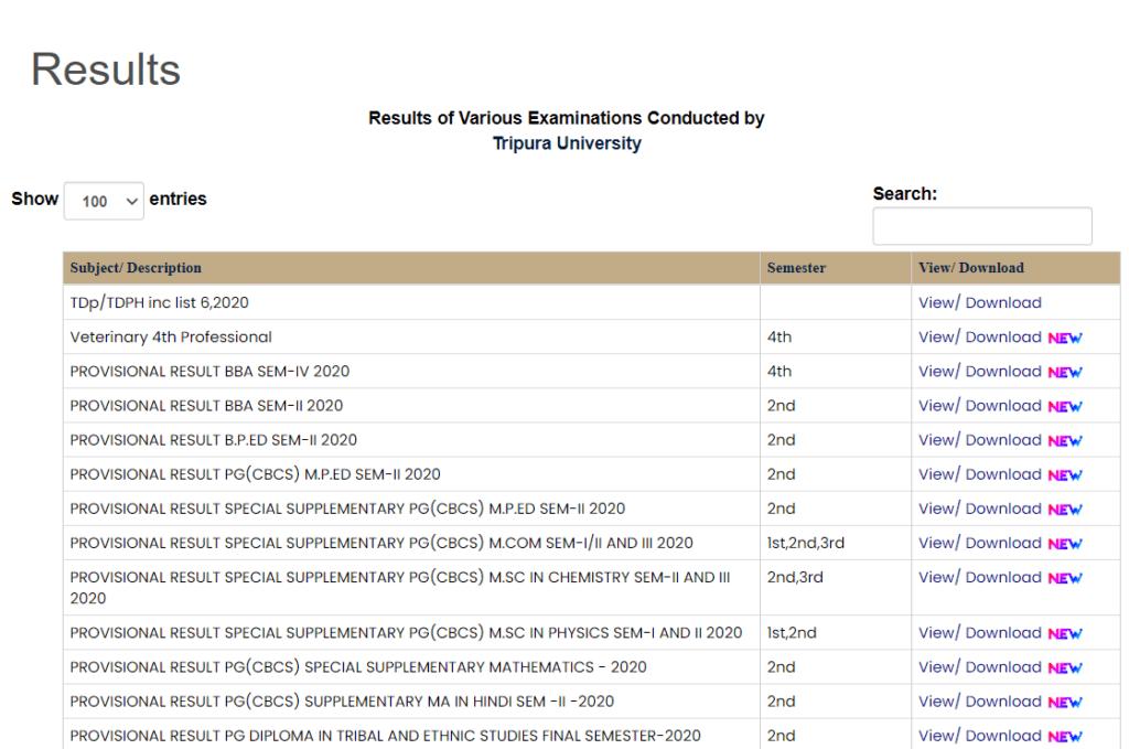 Tripura-uni-result-page