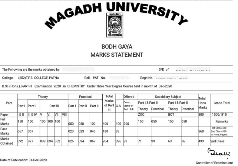 Magadh University result marksheet