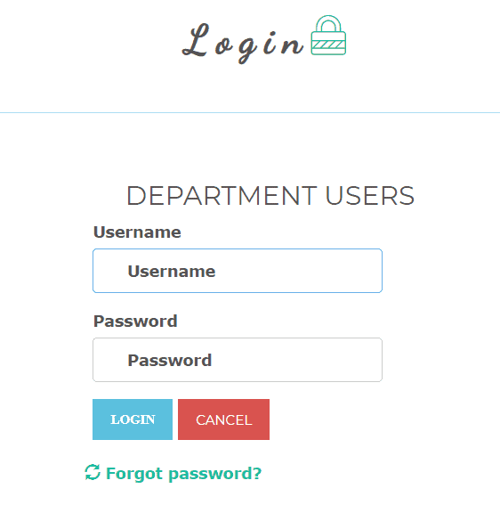 department-login-info