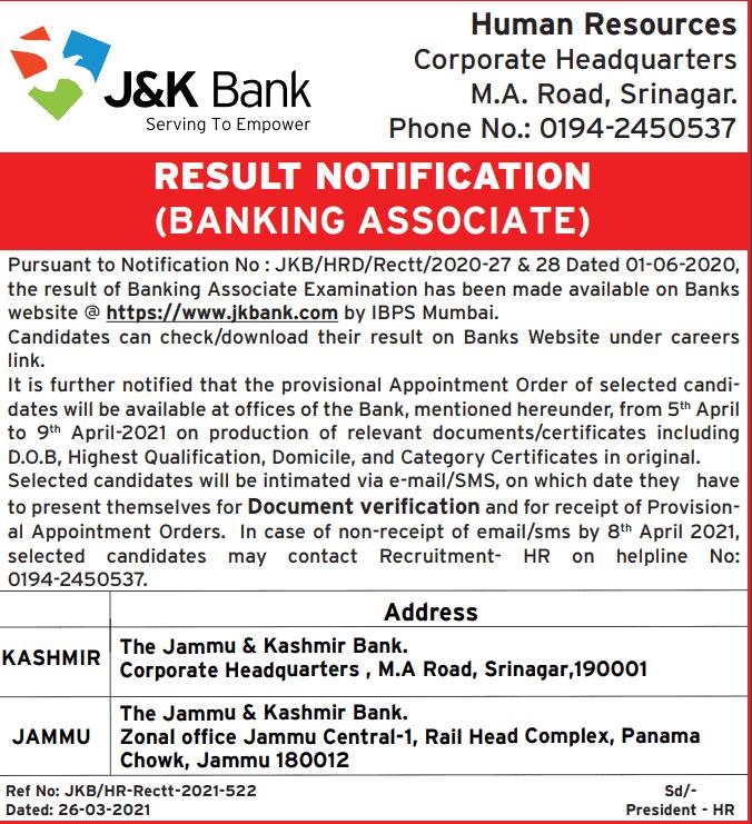 jk-banking-associates-result