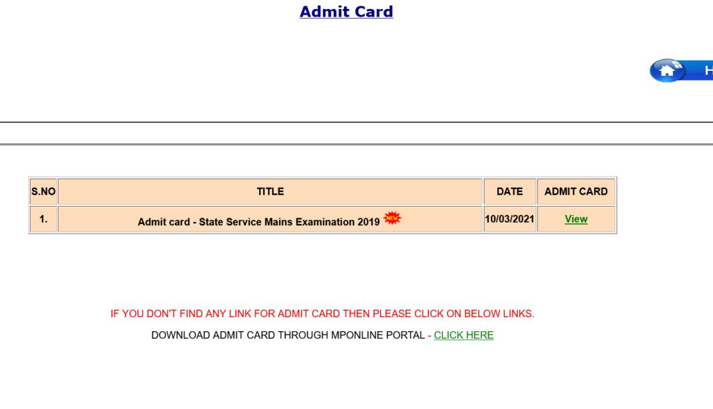 MPPSC SSE Admit Card download
