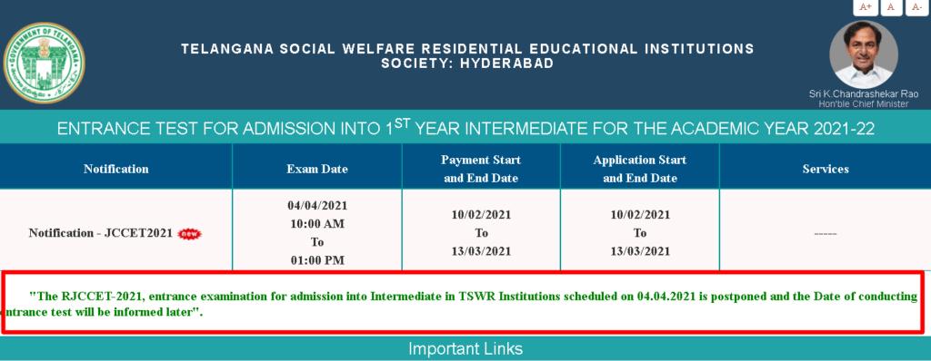 TSWR-JC-CET-2021-Admit-card-exam-postponed