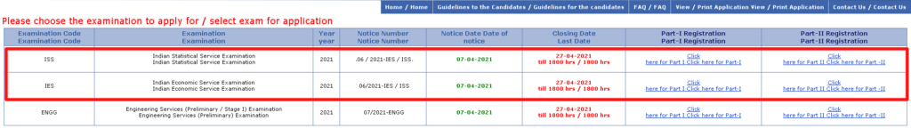 UPSC IES ISS 2021 Application form