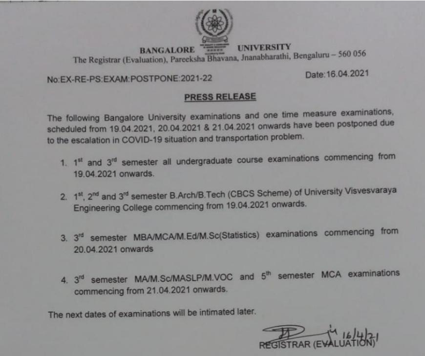 bangalore university exam postponed