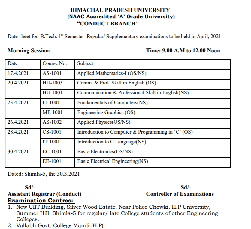 hpu-time-table